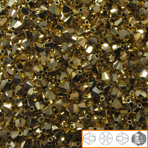 Bicono Swarovski 4 mm - 144 pz Crystal Aurum 2x