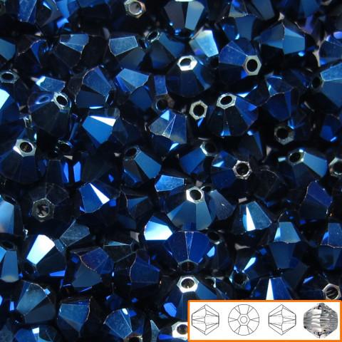 Bicono Swarovski 6 mm - 60 pz Crystal Metallic Blue 2x