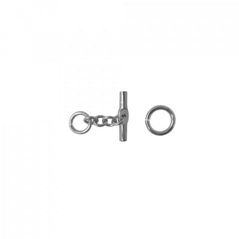 Chiusura a T C/Anello in Alluminio - 26 mm - 20pz Argento