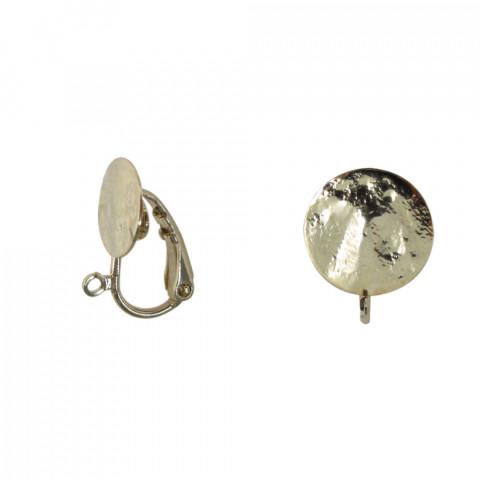 Clip Disco Martellato ø10mm con anellino in Ottone 10pz Oro Light
