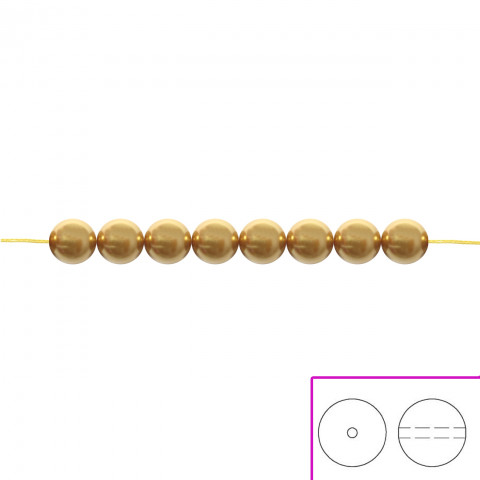 Crystal Round Pearl Swarovski 4 mm - 100 pz Bright Gold Pearl