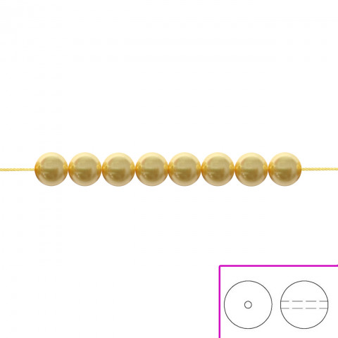 Crystal Round Pearl Swarovski 4 mm - 100 pz Gold Pearl