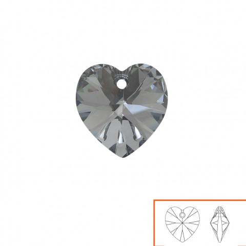 Cuore Swarovski (6228) 10 mm - 24 pz Crystal Silver Night