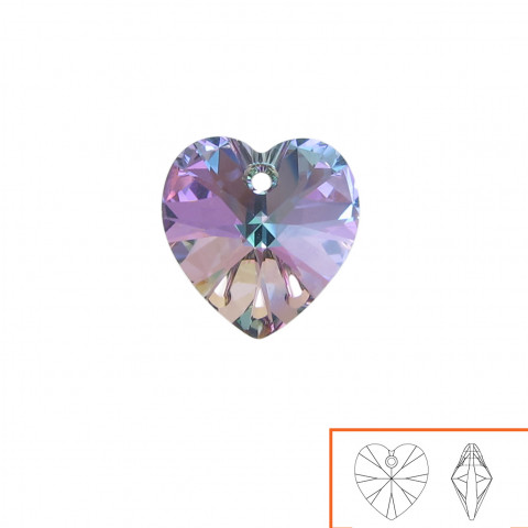 Cuore Swarovski (6228) 10 mm - 24 pz Crystal Vitrail Light