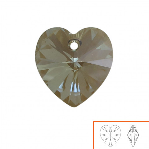 Cuore Swarovski (6228) 14 mm - 12 pz Crystal Bronze Shade