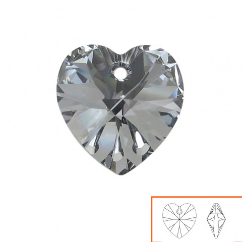 Cuore Swarovski (6228) 14 mm - 12 pz Crystal Light Chrome