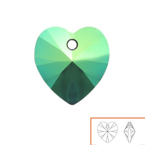 Cuore Swarovski (6228) 14 mm - 12 pz Crystal Scarabaeus Green