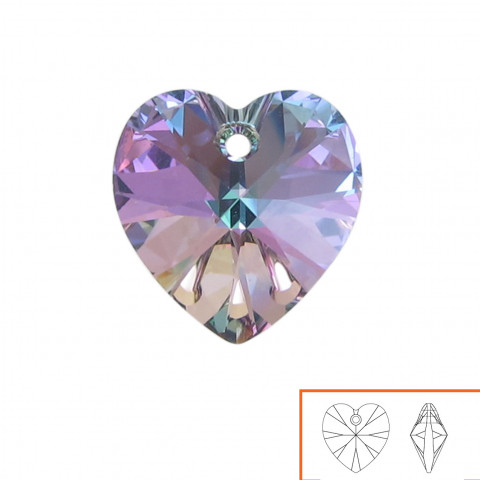 Cuore Swarovski (6228) 14 mm - 12 pz Crystal Vitrail Light