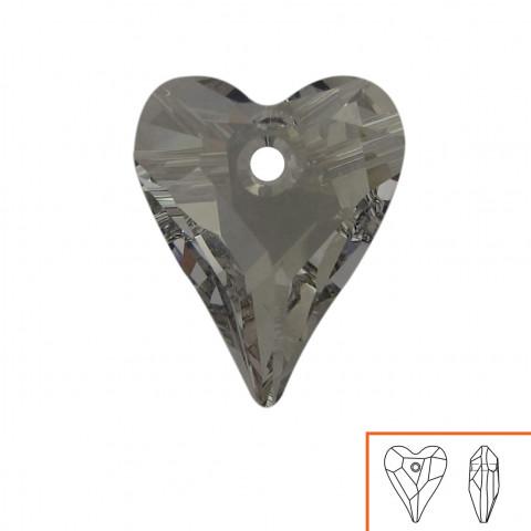 Cuore Swarovski (6240) 17 mm - 4 pz Crystal Silver Shade