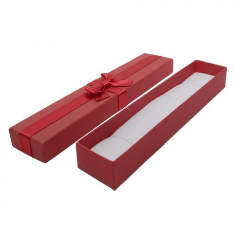 Scatola per Bracciale Steso con Fiocco - L23xP5 - H2,4 cm - 12pz Rosso
