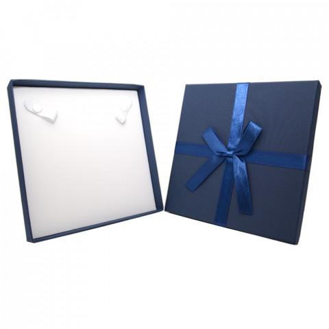 Scatola Quadrata per Collana con Fiocco - L17xP17cm - H2,9 - 12pz Blu