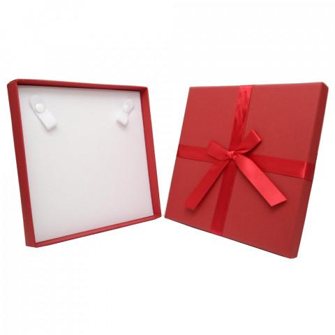 Scatola Quadrata per Collana con Fiocco - L17xP17cm - H2,9 - 12pz Rosso