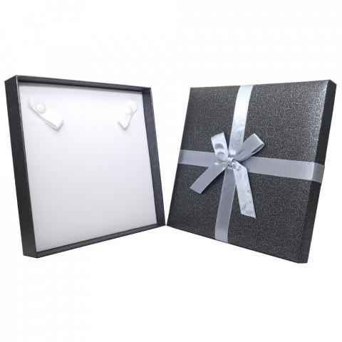 Scatola Quadrata per Collana con Fiocco - L17xP17cm - H2,9 - 3pz Grigio