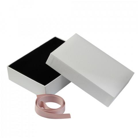 Scatola Rettangolare L16xP12 - H4,2 cm 3pz Bianco con Nastro Rosa