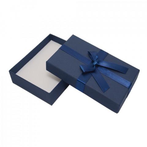 Scatola Rettangolare per Parure con Fiocco L14xP10 - H2,9 cm 12pz Blu